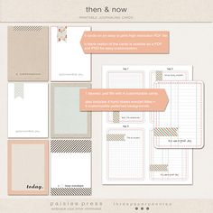 then & now printable journaling cards  Paislee Press                                                                                      by paislee press + three paper peonies
