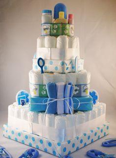 Square Diaper Cake | Square Polka Dot Diaper Cake