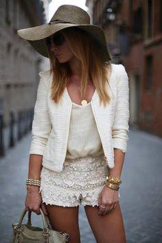 white blazer and lace shorts