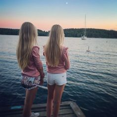 Lovely summer evenings  #summer #twins #sisters #blonde #happyness #style #sunset #moonlight #love
