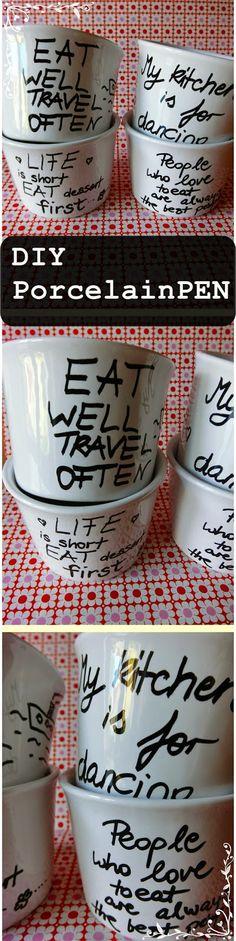 Quotes on porcelain/Statements auf Porzellan++ DIY: Geschirr bemalen mit dem PorcelainPEN
