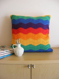 Bold & Beautiful Ripple Crochet Cushion by millicentjamescouk