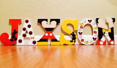 Mickey Mouse letter art. Hand painted wood by ShellsDesignStudio
