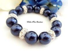 Swarovski Dark Blue Pearl Crystal Bracelet by DebraAnnCreations