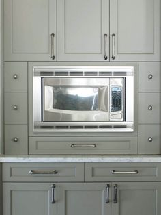 Stunning Cabinet Paint Color. Benjamin Moore Gettysburg Gray.  Gray/taupe rich color. Dresser Homes