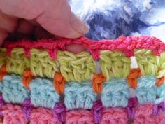 "Basics :: Block stitch (lots of different names: brick stitch, mosaic stitch, 'Chocolate Box') ~ alternating rows of DC & chain stitch loops. So easy it falls into the ""mindless"" category, which can be a good thing sometimes ;-) This is how I made my blue mosaic blanket (see my board Crochet II)"