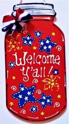 Hanging door art mason jars 68 Ideas for 2019 Mason Jar Projects, Mason Jar Crafts, Mason Jar Diy, Diy Projects, Wooden Door Signs, Wooden Door Hangers, Chalk Paint Mason Jars, Painted Mason Jars, Diy Hanging Shelves