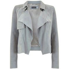 Mint Velvet Suede Biker Jacket, Dove Grey