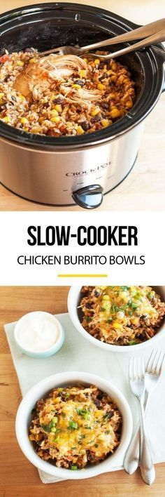 D Slow-Cooker Chicken Burrito Bowls Recipe. This EASY crockpot chicken dinner is soon to be one of your favorite meals! I don't know anyone who doesn't like Mexican food, and this simple rice bowl is a party in your crock pot! Crockpot Chicken Dinners, Crockpot Dishes, Crock Pot Slow Cooker, Crock Pot Cooking, Chicken Cooker, Chicken Recipes, Recipe Chicken, Slow Cooker Meals Healthy, Crockpot Chicken Healthy