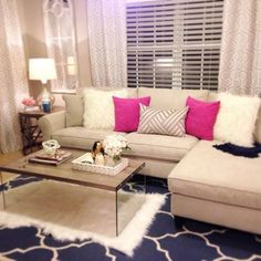 Living room. I like the pink accent pillows. Girly home decor. Pretty rooms. Pink and gold. Girly living room.