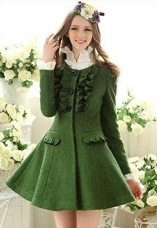 Ruffles Wool Trench Coat/Dress