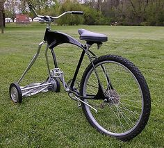 CUSTOM BUILT - CHOPPER / MOWER BIKE - BICYCLE - my son always said he wanted a riding lawn mower