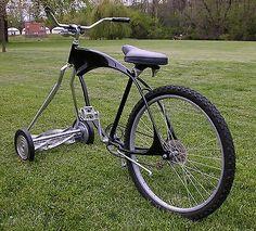 CUSTOM BUILT - CHOPPER / MOWER BIKE - BICYCLE - my son always said he wanted a riding lawn mower