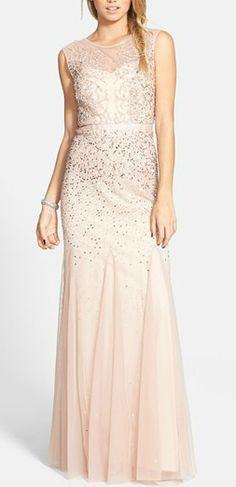 Gorgeous sparkly blush bridesmaid dresses