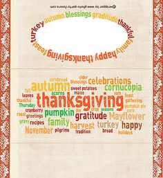Free, Printable Word-Art Thanksgiving Candy Bar Wrappers in subway art style with EASY instructions for a standard oz chocolate bar. More printables and other party stuff at www.photo-party-f. Thanksgiving Words, Thanksgiving Treats, Thanksgiving Decorations, Candy Bar Labels, Candy Bar Wrappers, Chocolate Bar Wrappers, Chocolate Bars, Holiday Fun, Holiday Crafts