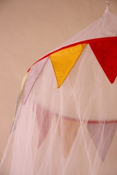 Baby Nursery Cot Canopy Mosquito Net with Bunting. $77.00, via Etsy.