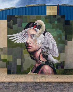 "Mural ""Leda and the swan"" by Cristian Blanxer located in Murcia (Spain) is inspired by one of the most sensual stories of Greek mythology, which explains in an allegorical way human passions and weaknesses ~. Grafitti Street, Murals Street Art, Mural Art, Best Graffiti, Urban Graffiti, Graffiti Art, Urban Street Art, 3d Street Art, Street Artists"