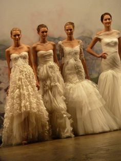 love the first on the left - short in the front!!  Monique Lhuillier - Fall 2012