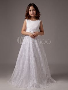 White Floor Length A-line Satin Round Neck First Communion Dresses - Milanoo.com