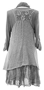 Ladies Womens Italian Lagenlook Quirky Layering 3 Piece Sequin Lace Knit Mohair Long Sleeves Scarf Tunic Top Dress One Size Plus (UK 12-20): Amazon.co.uk: Clothing