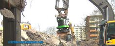MOC and Construction Blog Vlog: Volvo 250D Excavator Magnetic Recycling And CAT345CL Separating Debris Hochhaus Abriss Duisburg Rheinhausen 2016