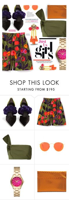 """""""Pop of color !!!"""" by trendyandtrend ❤ liked on Polyvore featuring Marco de Vincenzo, Ray-Ban, Michael Kors, MM6 Maison Margiela, Mignonne Gavigan and Celestine"""