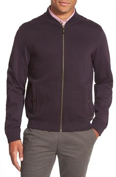 Ted Baker London 'Deeaz' Quilted Herringbone Knit Baseball Jacket