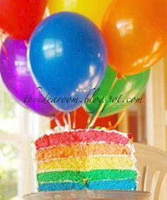 layered cakes, rainbow theme, cake tutorial, birthday parties, rainbow cakes