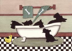 Scottish terriers scotties fill bathtub / Lynch by watercolorqueen