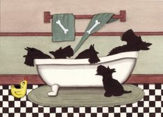 Scotties in a bathtub - art print