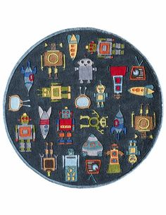 Momeni Lil Mo Whimsy Steel blue Round Indoor Handcrafted Area Rug (Actual: dia) at Lowe's. The whimsical style of this kids area rug brings characters from childhood storybooks to life. From woodland creatures and farm animals to robots, Kids Area Rugs, Round Area Rugs, Blue Area Rugs, Hand Tufted Rugs, Indoor Rugs, Woven Rug, Rug Making, Rug Size, Size 2