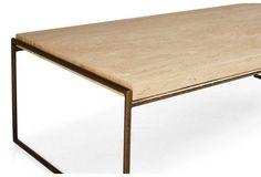 """Mia 48"""" Marble Coffee Table, White"""