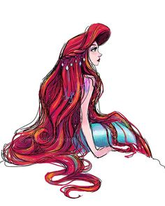 "Giorgi on Instagram: ""Sunshine 💜 . . . #TheLittleMermaid #Ariel #Disney #Sketches #WatercolorArt #DisneyPrincess"""