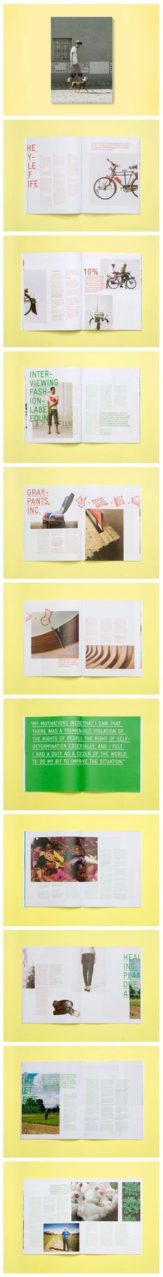 Loop Magazine Full image bleed off edge Coloured text over images Page-centered masthead