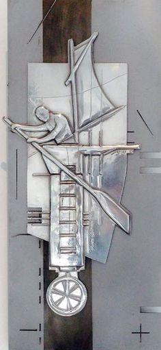 The Plan  235 x 535 mm Pewter, Mild Steel, Etching  Artist Martie Bitzer
