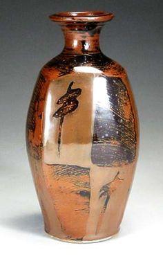 temmoku thrown squared  stoneware bottle vase  30cm., Sam Kwan  Vancouver, B.C.