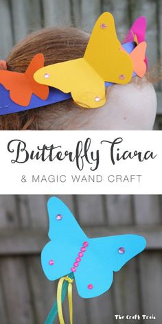 Butterfly tiara and magic wand craft with free printable template Animal Crafts For Kids, Easy Crafts For Kids, Craft Activities For Kids, Preschool Crafts, Projects For Kids, Art For Kids, Craft Projects, Daycare Crafts, Big Kids