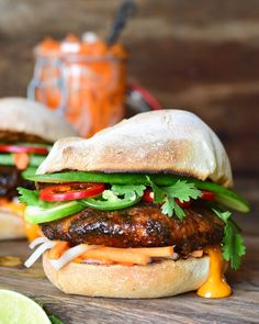 Ground Ontario Pork Patties are so versatile & delicious and work perfectly with any toppings. Lettuce, tomato, onions, pickles, mustard, ketchup, cheese, just to name a few.  Here I have paired these tasty patties with the fresh ingredients/toppings of a Bahn Mi sandwich. The patties are brushed with a Lemongrass Pepper Sauce, adding a kick of Asian inspired flavours and everything is served with the freshest buns from a local bakery. Pork Burgers, Lemon Grass, Ketchup, The Fresh, Cooking Ideas, Onions, Lettuce, Buns, Pickles