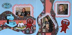 Scrapbook Page - Christmas Baking - 2 page Kiwi Lane layout with a mixer, a plum pudding and gingerbread men - from Christmas Album 4. Love the googly eyes with lashes!!!