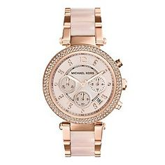 Get rose gold appeal with this sporty and glamorous ladies' two colour rose tone stainless steel and rose gold plated bracelet watch from the alluring Michael Kors timepiece collection. Styled with a chronograph stone set dial with date window, alongside a glittering stone set bezel. £229.... Loving!! ❤️❤️