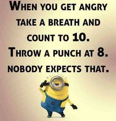 Minions, angry count to ten. 。◕‿◕。 See my Despicable Me Minions pins … - Humor on Funny Shit, Haha Funny, Hilarious, Fun Funny, Funny Stuff, Funny Life, Funny Laugh, Funny Humor, Minion Jokes