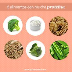 ¡6 alimentos que te dan tanta proteína como la carne!  Si quieres sustituir en tu comida la carne, estos alimentos son altos en proteína:  -Brócoli -Col rizada -Chicharos -Lentejas -Pasta Integral -Queso cottage  Recuerda que para seguir una dieta es importante consultar a tu nutriólogo.
