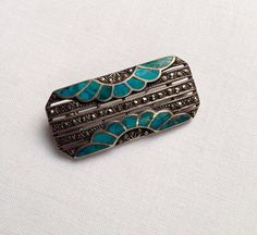 Art deco sterling silver marcasite and turquoise brooch - onlygoodvintage Brutalist Design, Vintage Pottery, Contemporary Jewellery, Vintage Buttons, Marcasite, Vintage Jewelry, Art Deco, Brooch, Turquoise