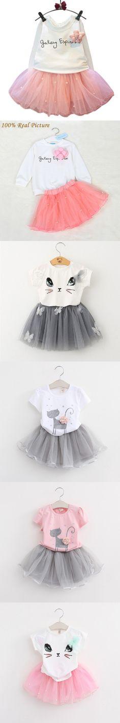 Girls Dress 2016 New Autumn Letter T-shirt+pink Elegant Princess Dress Kids Clothes Girls Clothing Sets 2pcs suit for 2-6T $7.05