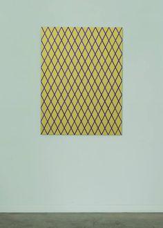"Winston Roeth (b 1945) ~ ""Diagonals (Gold)"", 2013. Pigments and polyurethane dispersion on Dibond panel (122 x 91.5 cm). | #art #painting #hardedge #minimalart #conceptualart"
