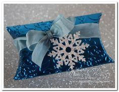 NORTHERN FROST METAL EMBOSSED PILLOW BOX (OCEAN BLUE)  Monica Weaver  www.addalittledazzle.com    Stampin Up Pillow boxes