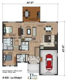 This lovely Bungalow style home with Cottage influences (House Plan has 1351 square feet of living space. The 1 story floor plan includes 2 bedrooms. Guest House Plans, House Plans One Story, Family House Plans, Small House Plans, Small Bungalow, Bungalow Homes, Bungalow Floor Plans, House Floor Plans, Home Building Design