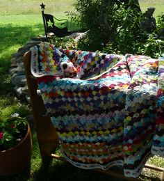 Colors Galore Crocheted Afghan by OneCreativeFamily on Etsy
