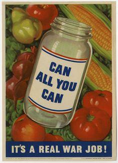 1943 World War II Homefront Poster Victory Garden Canning Civilian Corp Vintage
