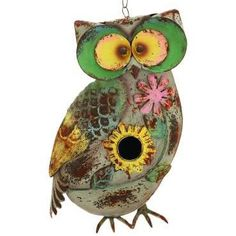 Metal Crafted Bird House, Distressed Antique Garden Owl Sculpture Statue, 12-inch, Hanging Standing